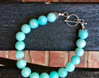Blue Amazonite Bracelet with Sterling Silver Toggle Clasp
