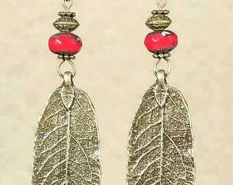 Leaf Earrings Antique Bronze Earrings Bohemian Earrings Nature Earrings Red Earrings Dangle Earrings Boho Jewelry Gypsy Earrings