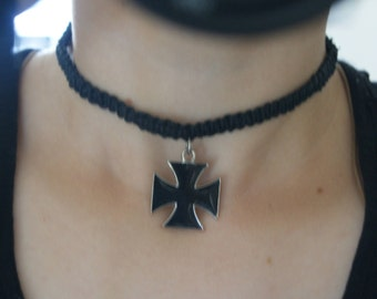 Black cross choker
