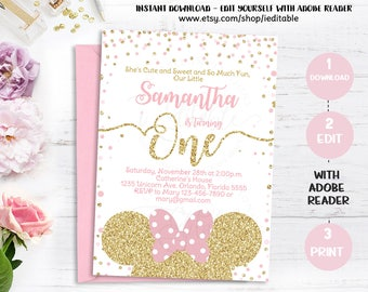 Pink and Gold Minnie invitation, 1st Birthday, first birthday invite, Girls Polk dots, Gold Glitter, Editable Templates Intant download