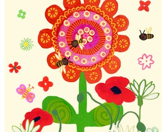 Big Red Flower with poppies and bees. Cream background 8 x 10 print - wall art, decor, interior design