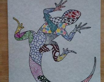 Multi-colored Lizard Zentangle print