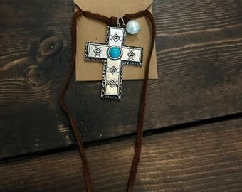 Turquoise and Pearl Leather Wrap Cross Necklace