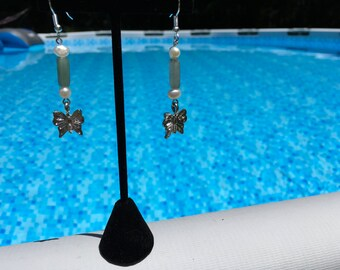 Green Aventurine, Pearl and Silver Butterfly Charm Earrings