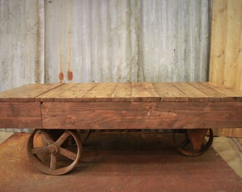 Reclaimed Wood Cart Coffee Table. Rustic Coffee Table