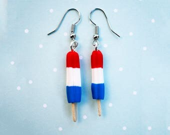 Bomb Pop Earrings, Food Jewelry, Miniature Food, Popsicle Charms, Bomb Pop Necklace, Foodie Gifts, Polymer Clay Jewelry, Gifts for Girls
