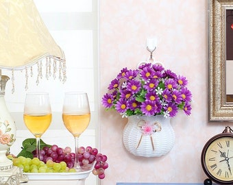 Rattan Flower basket, hanging basket with artificial flowers
