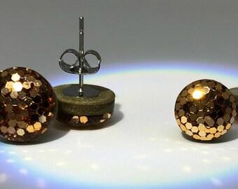 24kt Gold Glitter Studs