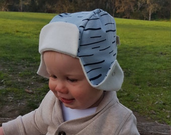 Baby Hat / 100% Organic Cotton + Bamboo / Baby Cap / Woodcutter Hat / Green Stripe / Jersey Cotton / Girl / Boy / Baby Shower Gift
