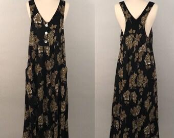 90s Black Festival Midi Dress Vintage