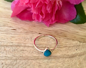 Teardrop shaped turquoise sterling silver ring