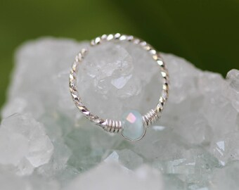 Tiny Nose Ring,Silver Nose Ring,nose ring 22g,nose ring jewelry,nose ring gemstone,jade nose ring,thin nose ring,nose ring piercing