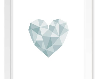 Light Blue Heart Geometric Print / Baby Nursery Art / Minimal Scandinavian Aqua Turquoise Poster Art