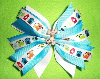 Blue and White Puppy Dog Hair Bow