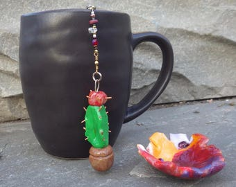 Cactus Tea Infuser with Sunset Dish - Handmade Potted Cactus Tea Trinket Infuser