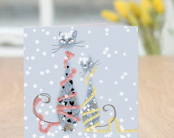 Tinsel Cats - Cat Lover Christmas Card