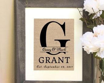ON SALE Monogram Burlap Print Last Name Print Sign Wedding Gift Bridal Shower Housewarming Personalized Gift