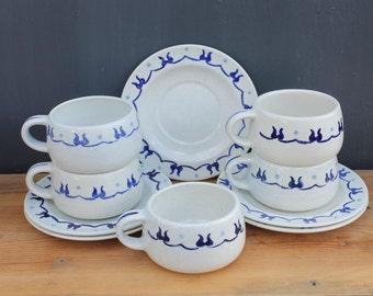 Provincial Blue Dinnerware, Five 5-piece Sets (and bonus Rooster Bowl)