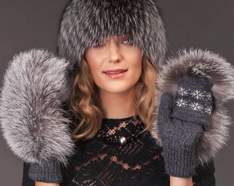 Natural silver fox fur wool hat and gloves/mittens, Handmade natural fur winter wear