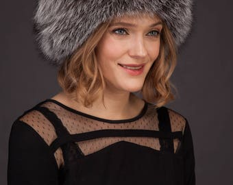 Handmade genuine real silver fox fur hat with leather inserts and fur pom-pom