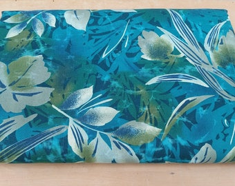 Jungle Cotton Robert Kaufman Leaf Print Teal Green Dress curtains quilting Robert Kaufman