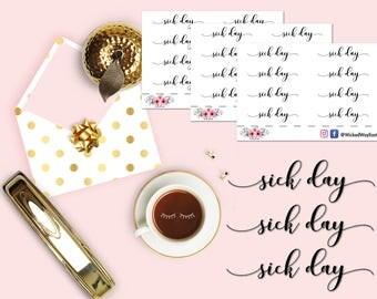 Sick Day Script Sticker, Script Planner Stickers, Script Sticker, Sick Day, Planner Script Sticker, Scrapbook Sticker, Tracker Sticker