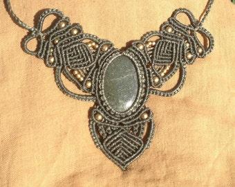 Macrame necklace with Aventurine stone