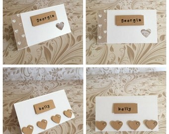 Handmade wedding place setting cards