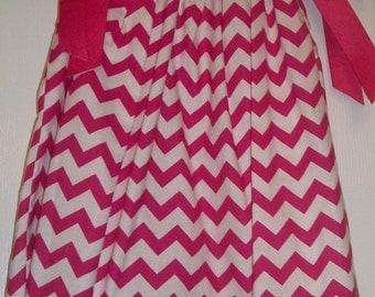 Pink and White Chevron Pillowcase Dress
