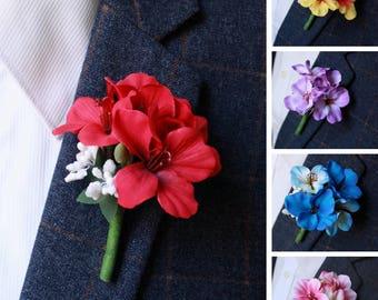 Hydrangea Buttonhole Wedding Boutineer, Silk Wildflowers Boutonniere, Woodland Rustic, Ivory Pink Blue Red Purple Violet Yellow Lapel Flower