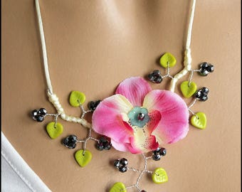 Artificial pink Orchid Necklace