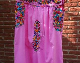 Mexican Silk Embroidered Floral San Antonio Dress