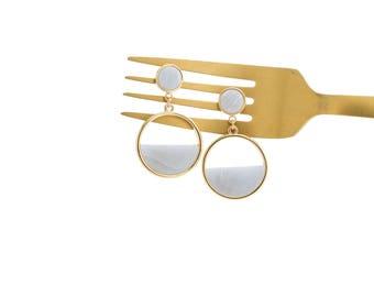 Gold Circle Earrings, Drop Earrings, Circle Earrings, Geometric Earrings, Marble Earrings, Gold Earrings, Gold Hoops, Statement Earrings,