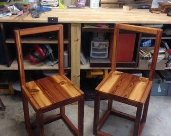 Reclaimed, Long Leaf Pine, Modular, Minimalist Chairs