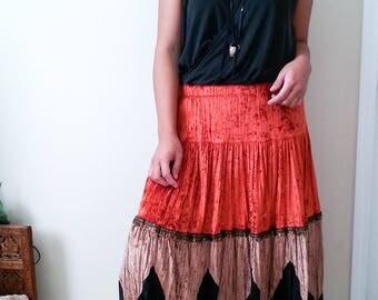 Vintage Velvet Gypsy Skirt SZ L, Boho Skirt, Hippie Skirt, Long Loose Skirt, Boho Chic, Bohemian Skirt, Red & Black Velvet Skirt,Gypsy Style