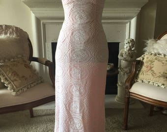 Pink Vintage Hand made lace maxi dress