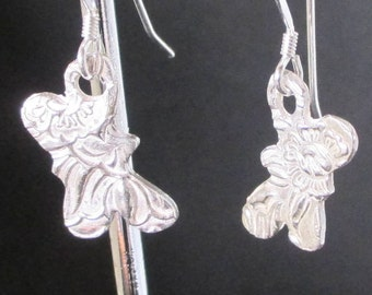 Butterfly earrings, silver clay earrings, pmc earrings,fine silver earrings, 999 silver earrings, delicate earrings,dangles,dangle earrings,