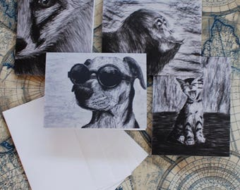 """Assorted Charcoal Notecard Set of 20 - 5.5""""x4"""""""
