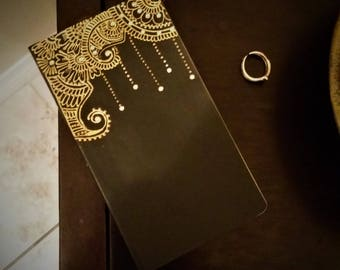 Decorated Notebook - Handcrafted with Henna Inspired Art (Black and Gold)