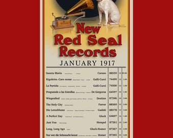 Reproduced Vintage Victor Talking Machine for January 1917 Red Seal Records Selections Print.