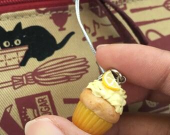 Miniature Lemon Cupcake Charm with Lemon Slice and Strap // Miniature Food Jewelry // Tiny Food Jewelry // Polymer Clay Jewelry