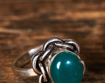 Aventurine ring, Gemstone ring, Green stone ring