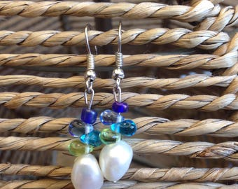 earrings: white pearls, blue and green plasctic