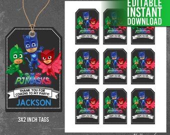 PJ Masks Thank You Tags, Pj Masks Favor Tags, Pj Masks Birthday Party, Pj Masks Thank You Card, Instant Download