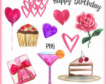 Birthday clipart, Happy birthday clipart, Valentine clipart, Hearts clipart, Watercolor birthday clip art