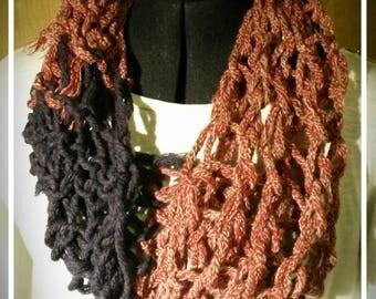 Red White Mix & Purple - Finger Knit Circular Scarf - Wool