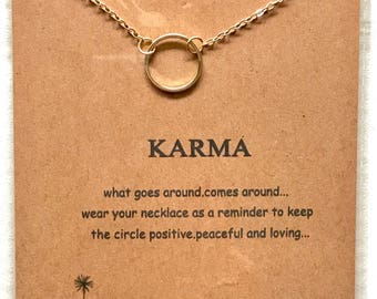 Karma- New Dogeared Inspired Handmade Gold 18k Necklace Jewelry Gift Handcrafted in USA