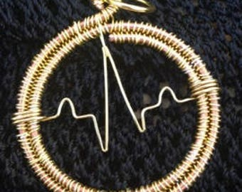 "2"" Rhythm Strip/Heartbeat Pendant (Gold) - inspired by Nurses (personalize with a loved one's heartbeat)"