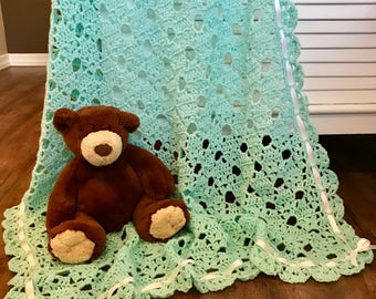 Baby blanket crochet, Tiffany Blue/Teal/Turquoise, soft baby yarn, FREE USA shipping, baby shower gift, baby afghan blanket, newborn