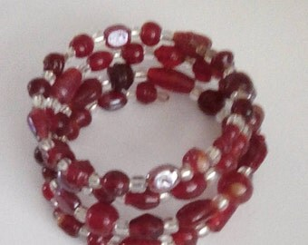 One of a kind beaded coil bracelet